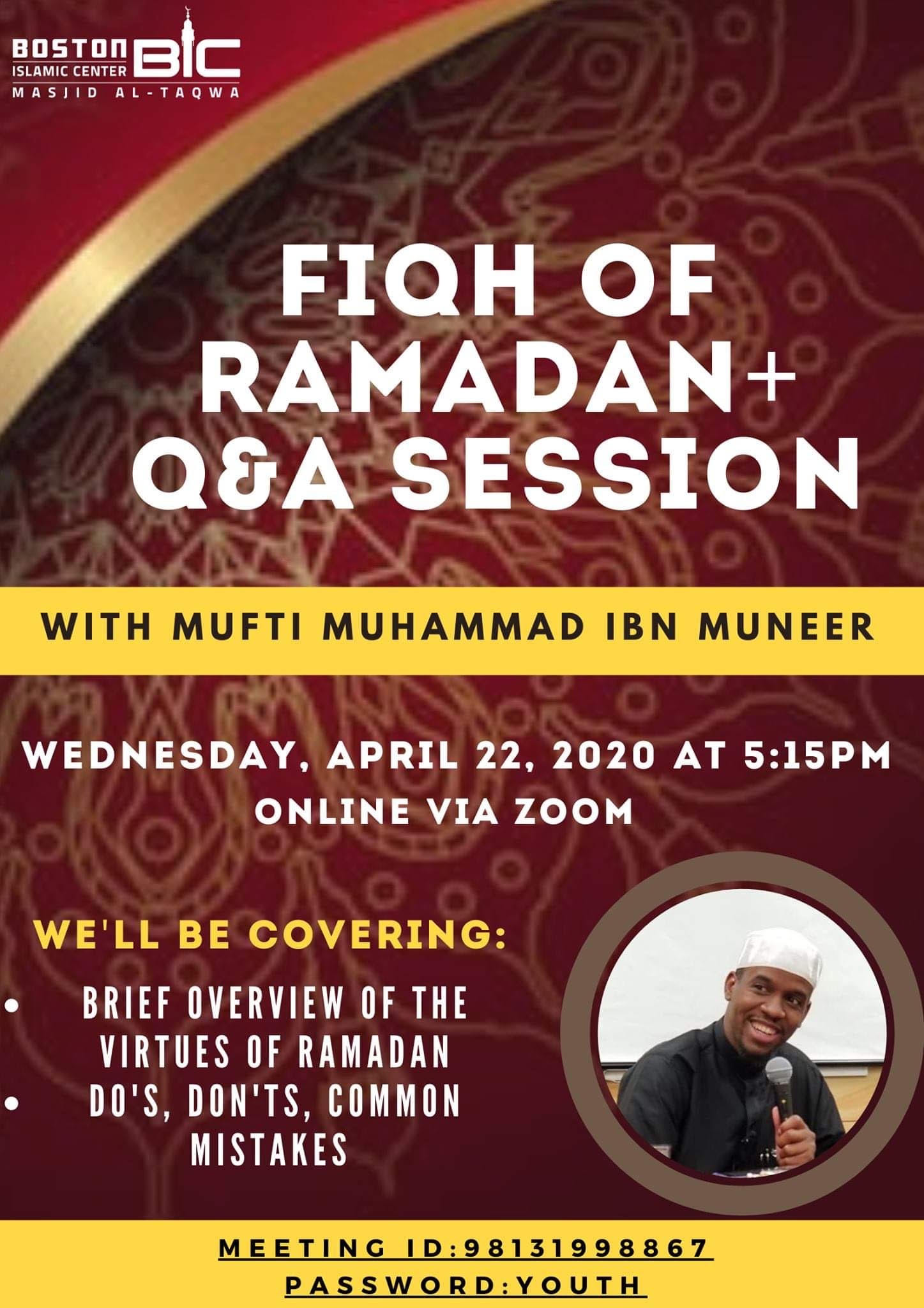 Fiqh of Ramadan Seminar with Mufti Muneer tomorrow at 5:15PM!