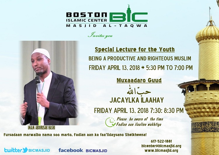 Friday night with Imam Abdirisak Hash, Do not miss out!